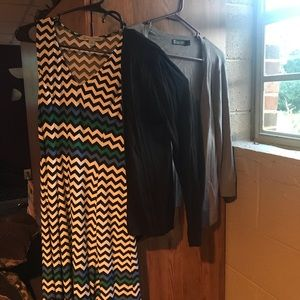 Sleeveless summer dress with 2 cover up sweaters.